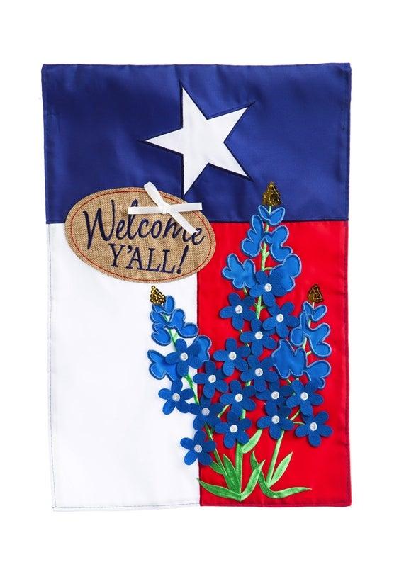 Blue Bonnets Texas AppliqueGarden Flag