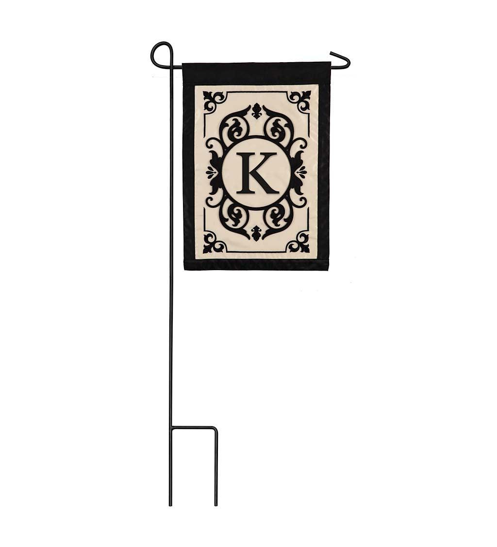 Cambridge Monogram Appliqué Garden Flag, Letter K