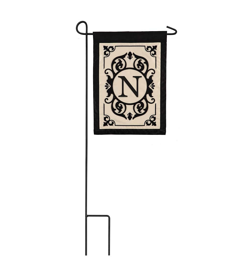 Cambridge Monogram Appliqué Garden Flag, Letter N