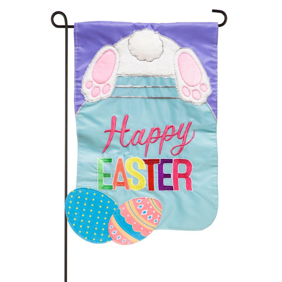 Easter Bunny Mason Jar Garden Applique Flag