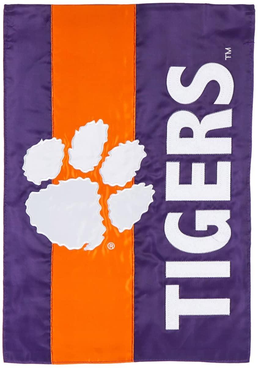 Clemson University Mixed-Material Embellished Appliqué Garden Flag