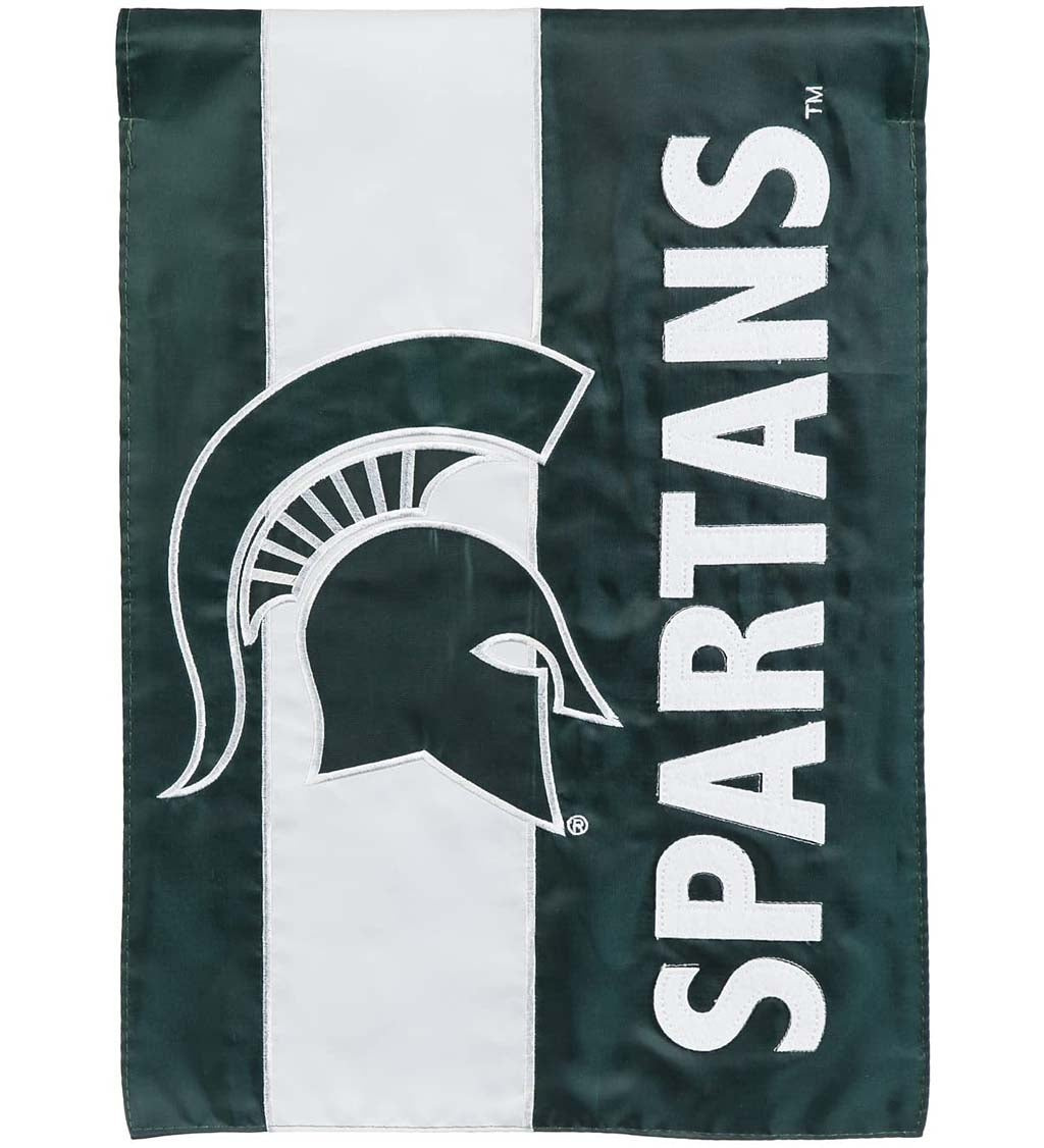 Michigan State University Mixed-Material Embellished Appliqué Garden Flag