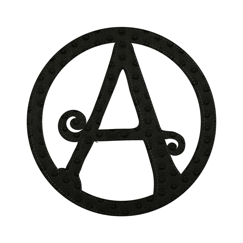 """10"""" Pin-On Black Embossed Felt Monogram, Letter A"""