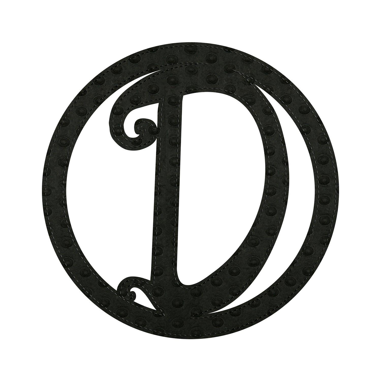 """10"""" Pin-On Black Embossed Felt Monogram, Letter D"""