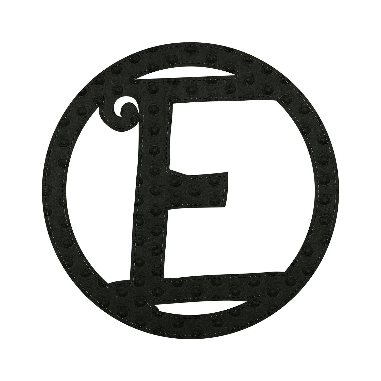 """10"""" Pin-On Black Embossed Letter Perfect Felt Door Décor Monogram, Letter E"""