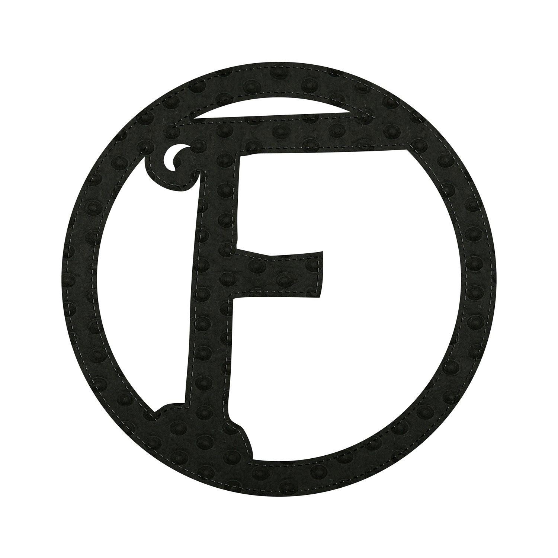 """10"""" Pin-On Black Embossed Felt Monogram, Letter F"""