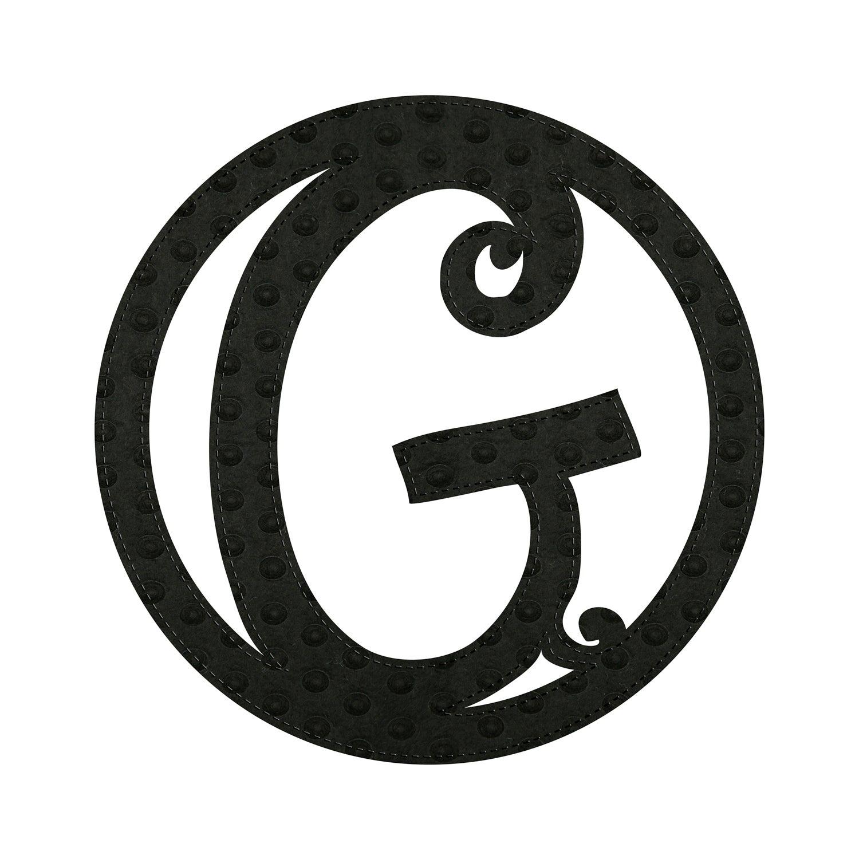 """10"""" Pin-On Black Embossed Felt Monogram, Letter G"""