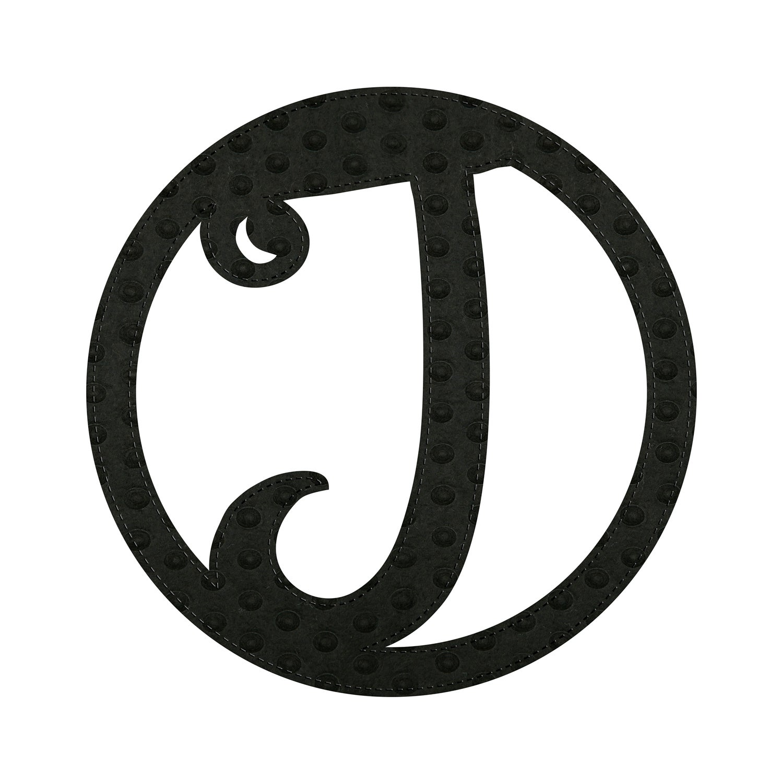 """10"""" Pin-On Black Embossed Letter Perfect Felt Door Décor Monogram, Letter J"""