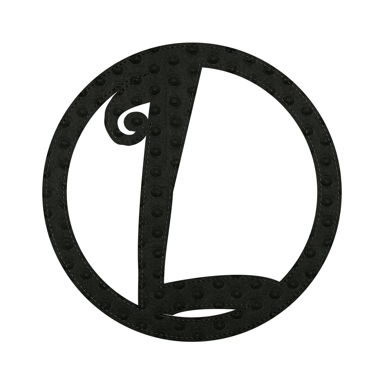 "10"" Pin-On Black Embossed Letter Perfect Felt Door Décor Monogram, Letter L"