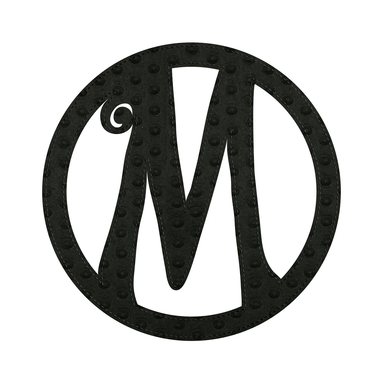"""10"""" Pin-On Black Embossed Felt Monogram, Letter M"""
