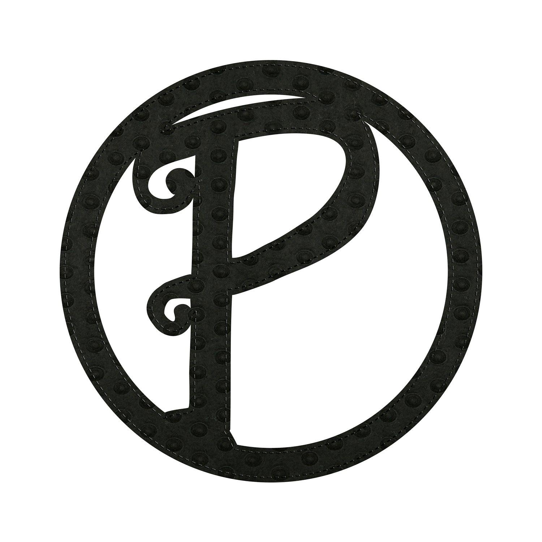 """10"""" Pin-On Black Embossed Felt Monogram, Letter P"""