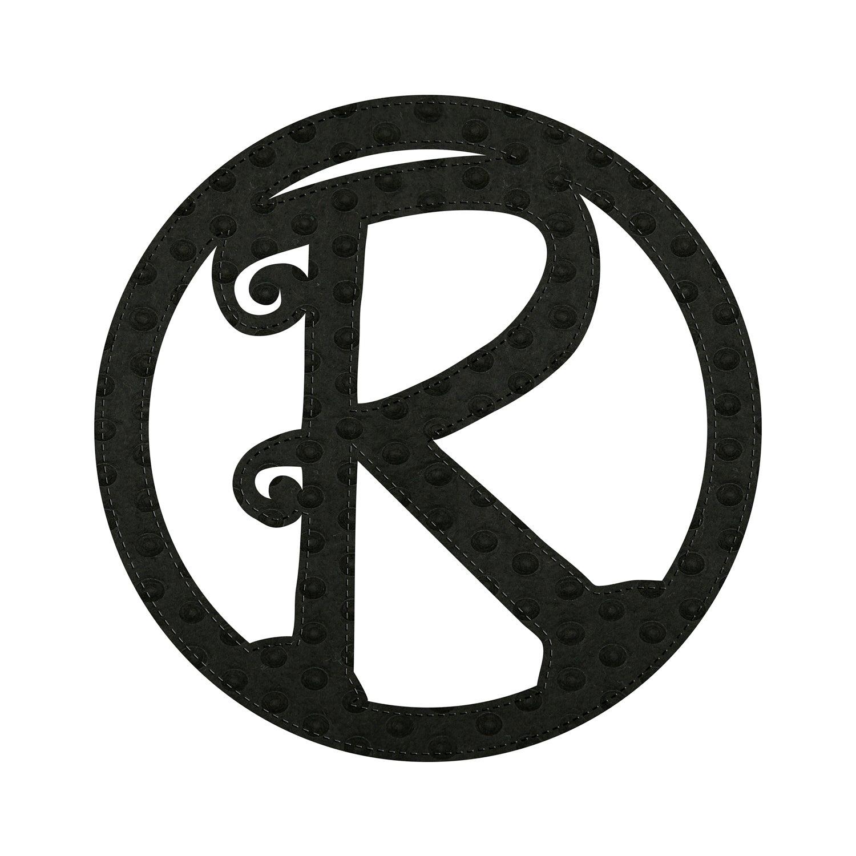 """10"""" Pin-On Black Embossed Letter Perfect Felt Door Décor Monogram, Letter R"""