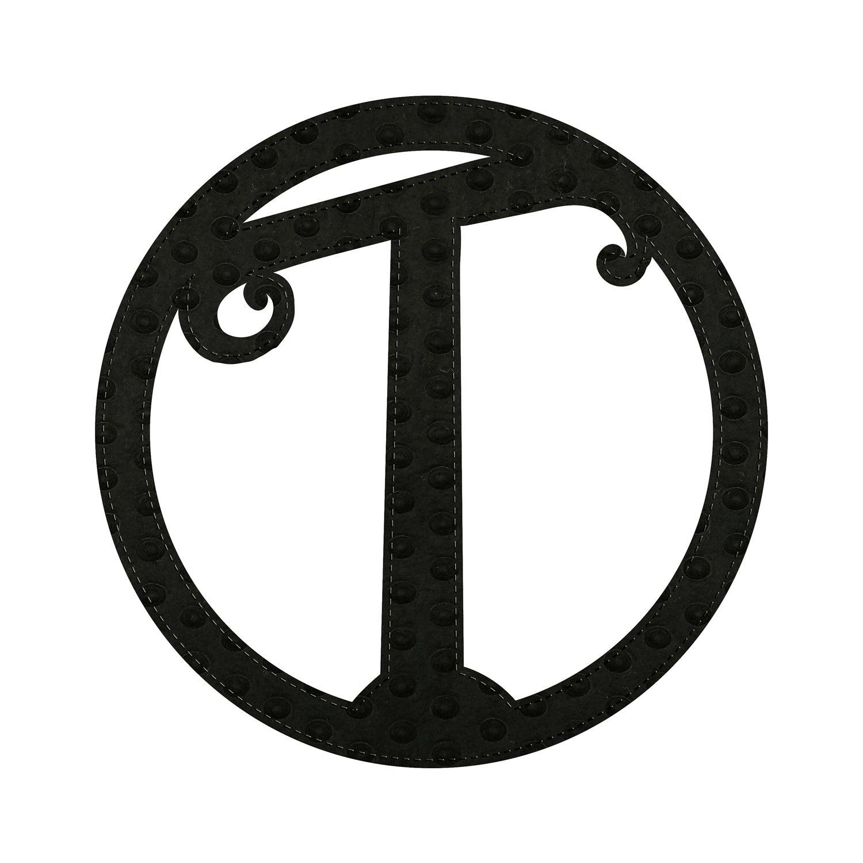 """10"""" Pin-On Black Embossed Letter Perfect Felt Door Décor Monogram, Letter T"""