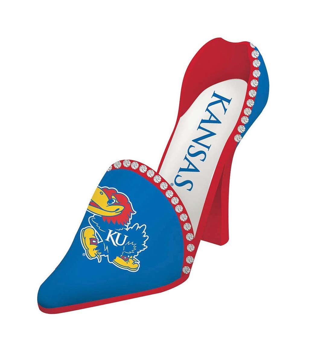 University of Kansas Jayhawks Decorative High Heel Shoe Wine Bottle Holder