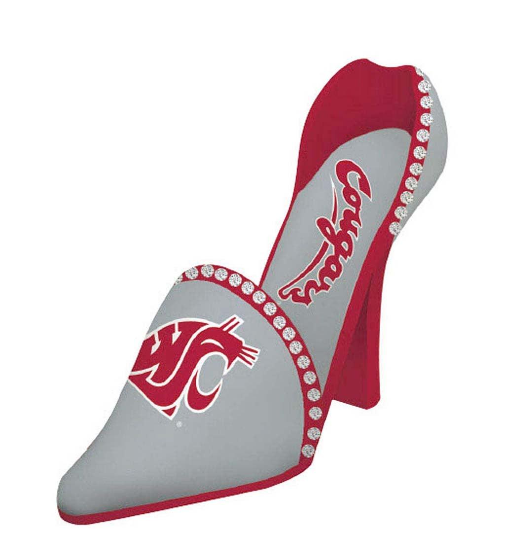 Washington State Cougars Decorative High Heel Shoe Wine Bottle Holder
