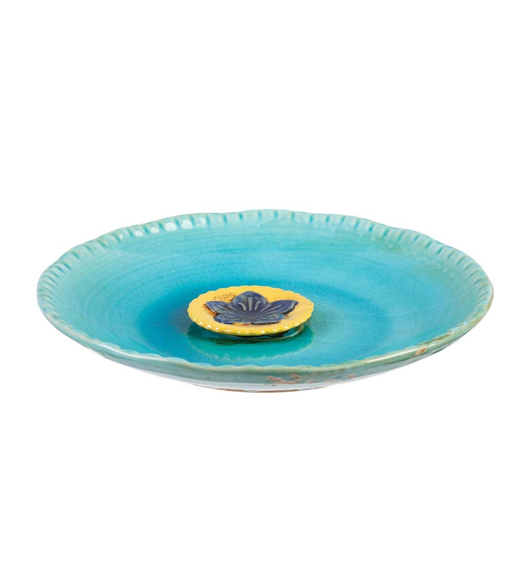 Turquoise with Yellow Flower Ceramic Bee Bath