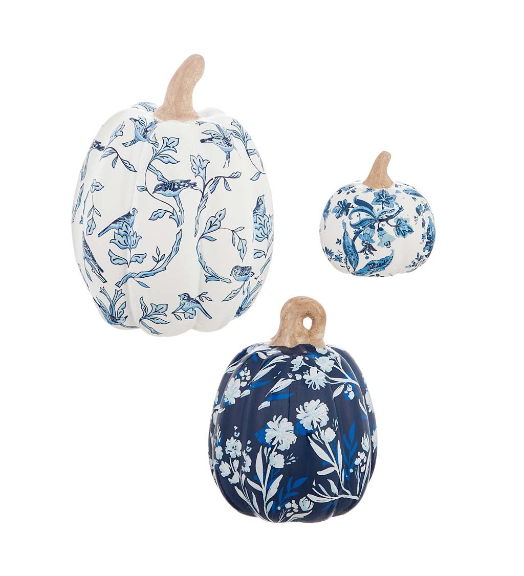 Artisan Blues Set of 3 Printed Ceramic Pumpkins