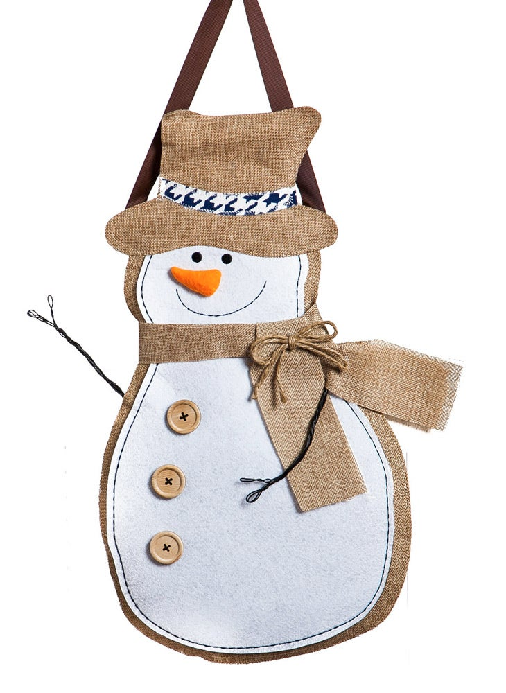 Evergreen Winter Snowman Hanging Burlap Door Décor