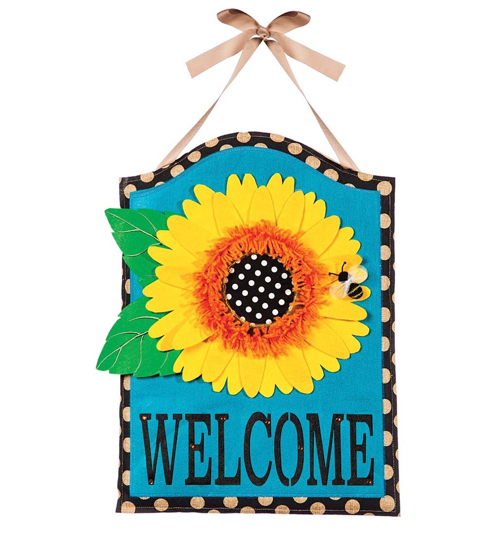 Sunflower Welcome Burlap Door Decor