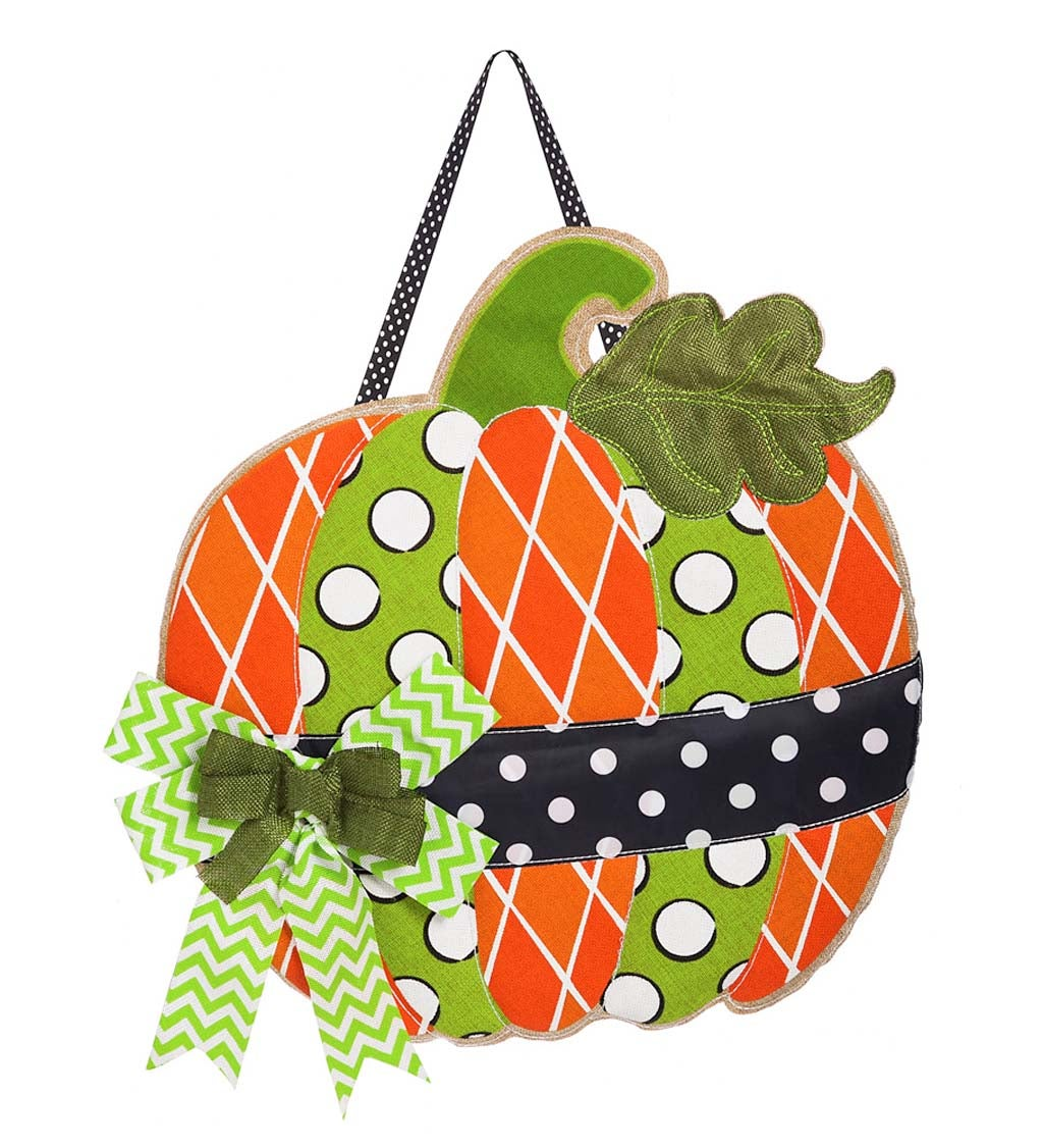 Polka Dot Pumpkin Burlap Door Décor™