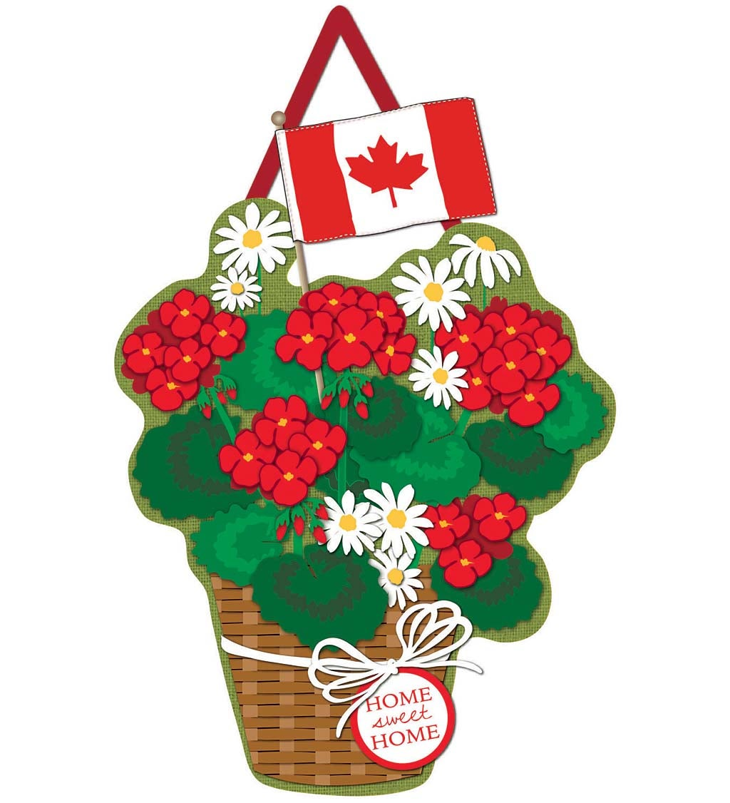 Canadian Basket of Flowers Burlap Door Décor