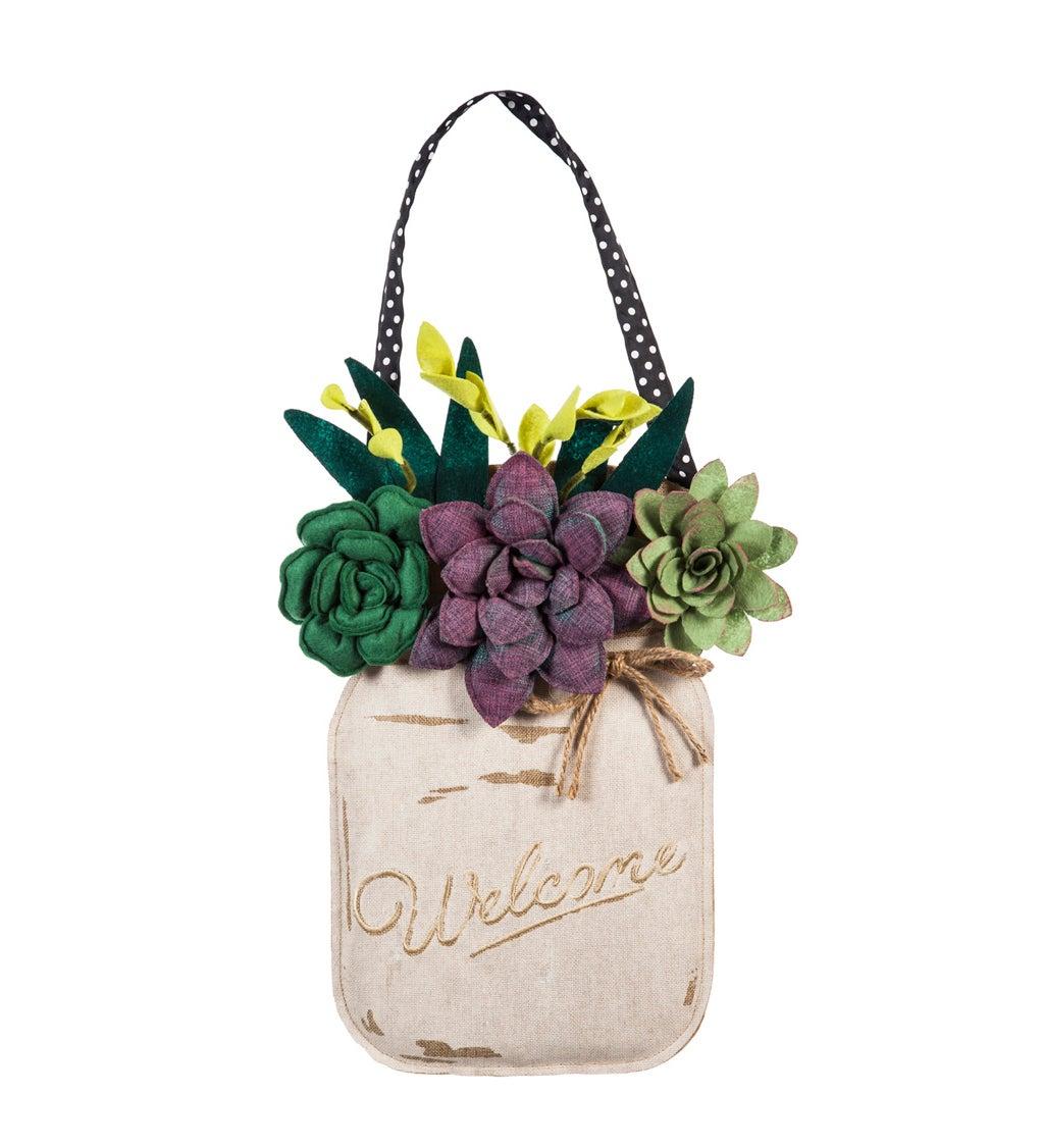 Succulents Mason Jar Burlap Door Décor