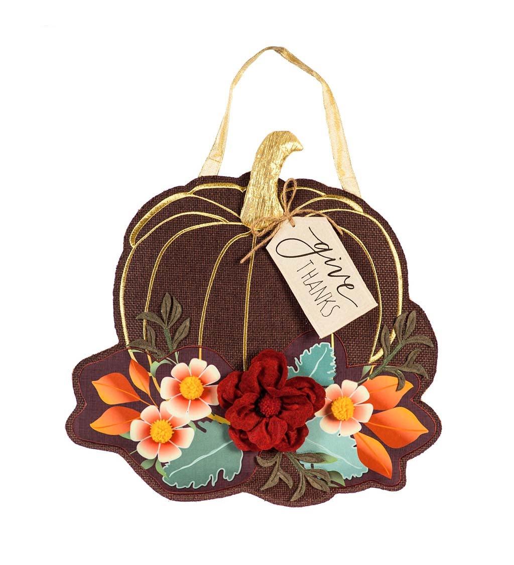 Give Thanks Floral Pumpkin Door Decor