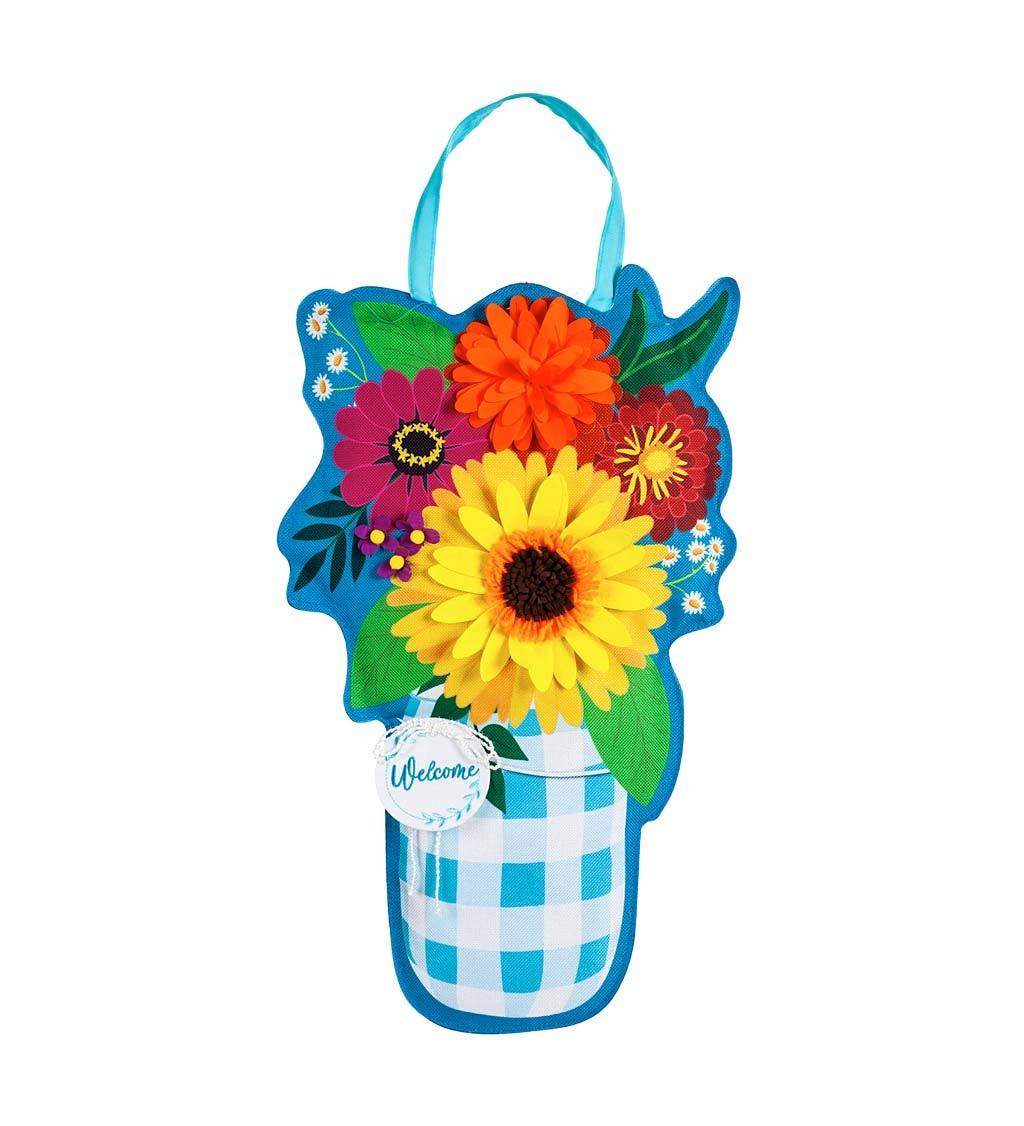 Plaid Mason Jar with Flowers Door Décor