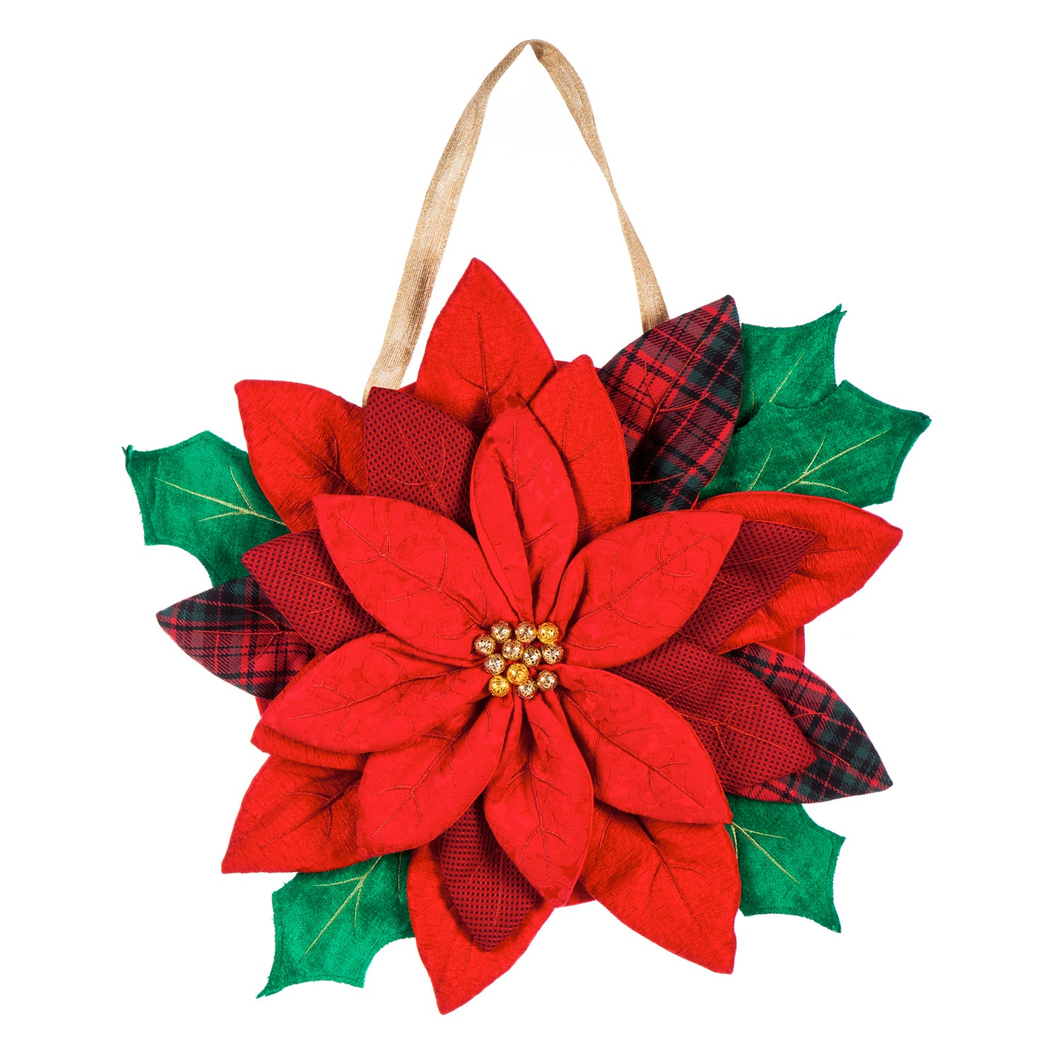 Winter Poinsettia Burlap Door Decor