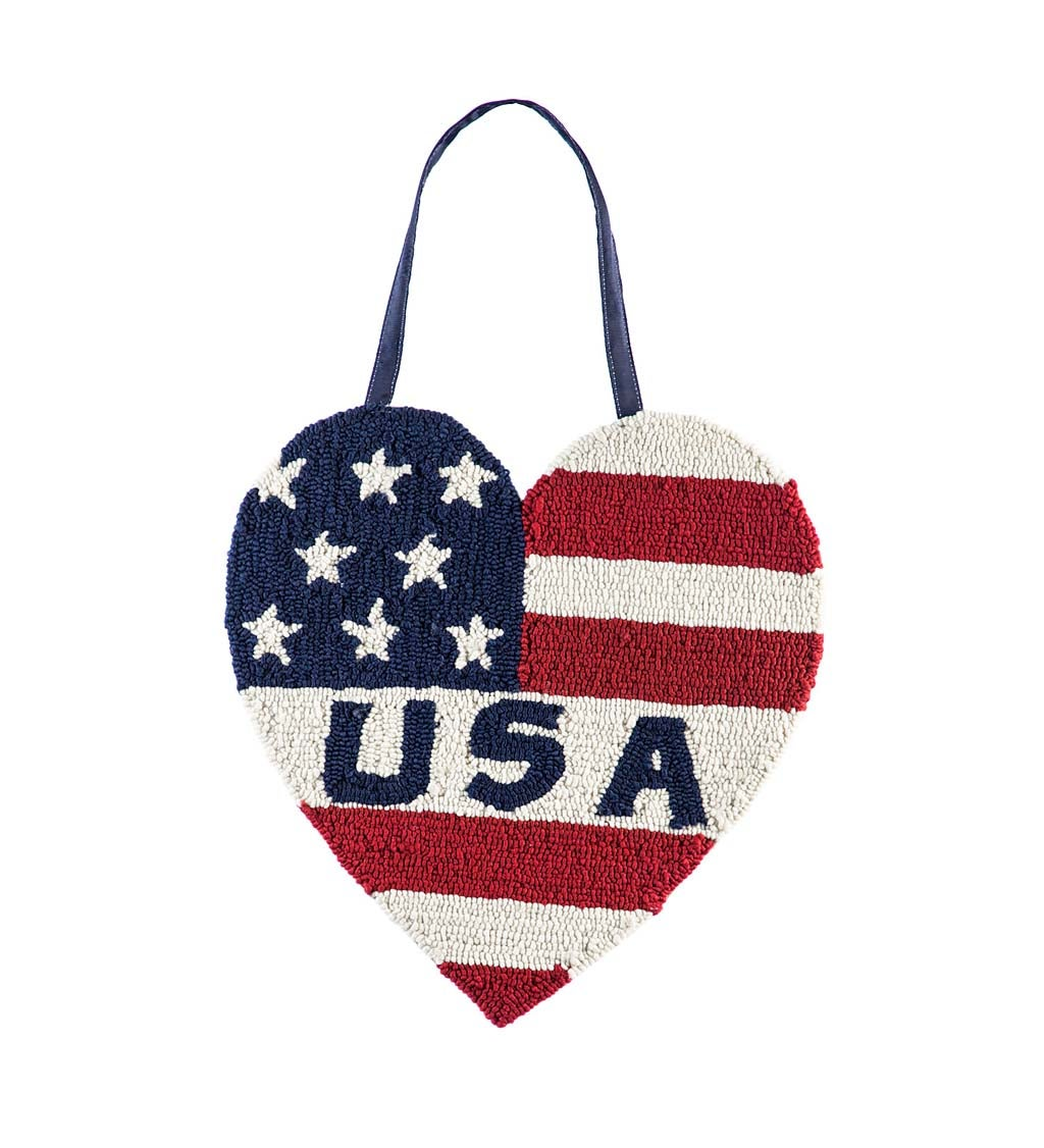 Patriotic Heart Hooked Door Decor