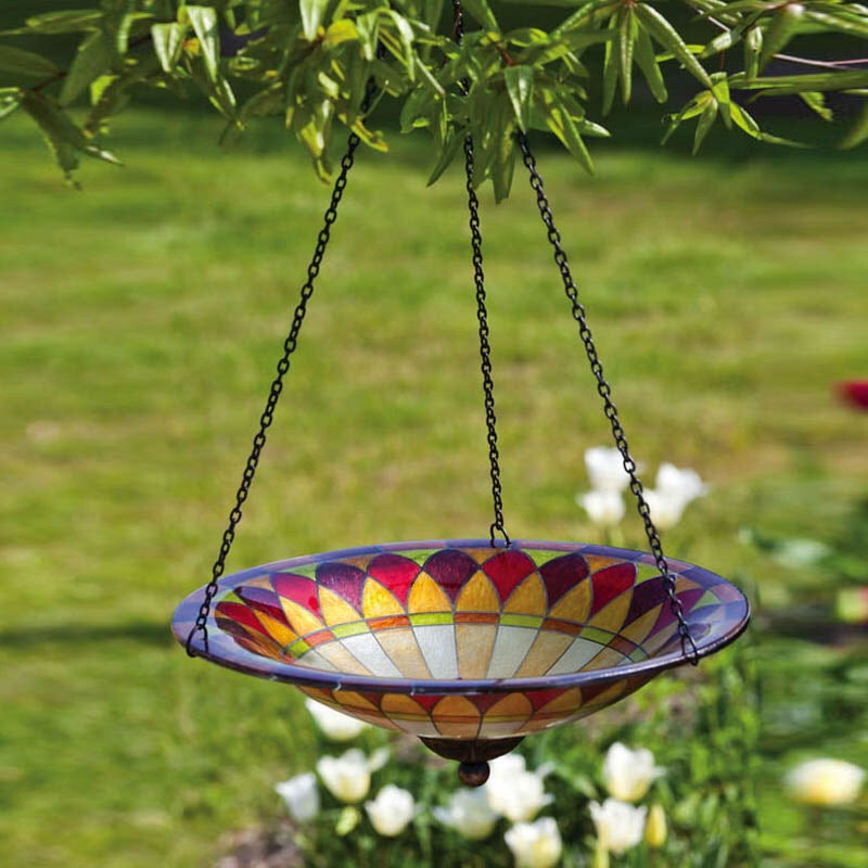Tiffany Inspired Glass Hanging Petal Bird Bath