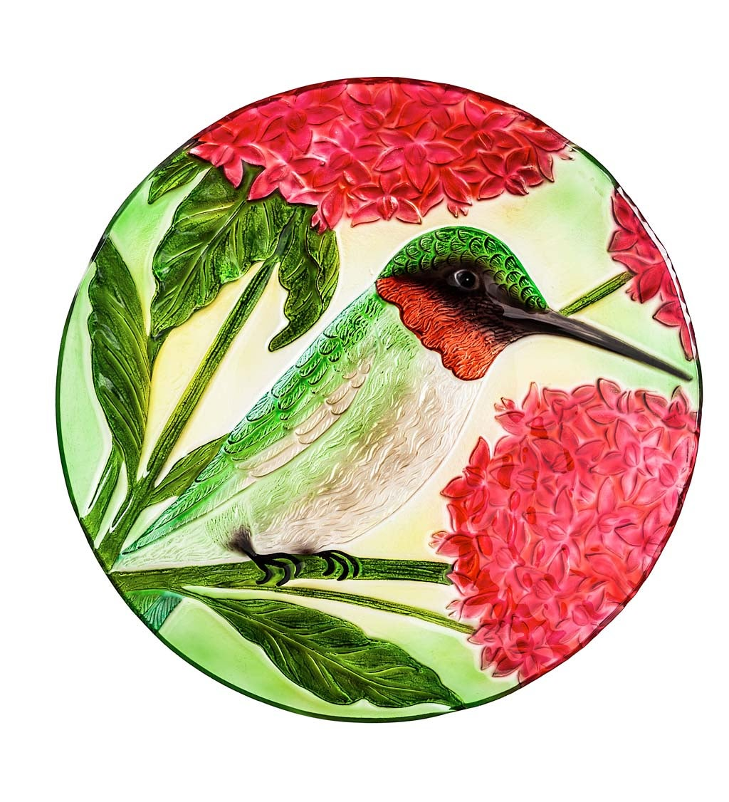 """18"""" Hand Painted Embossed Glass Bird Bath, Hummingbird with Red Lupine Florals"""