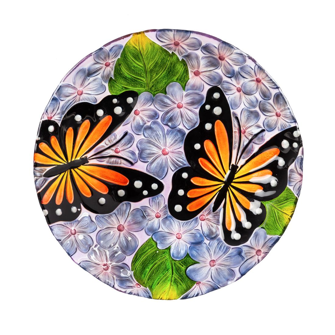 "18"" Hand Painted Embossed Glass Bird Bath, Monarchs in Purple Hydrangeas"