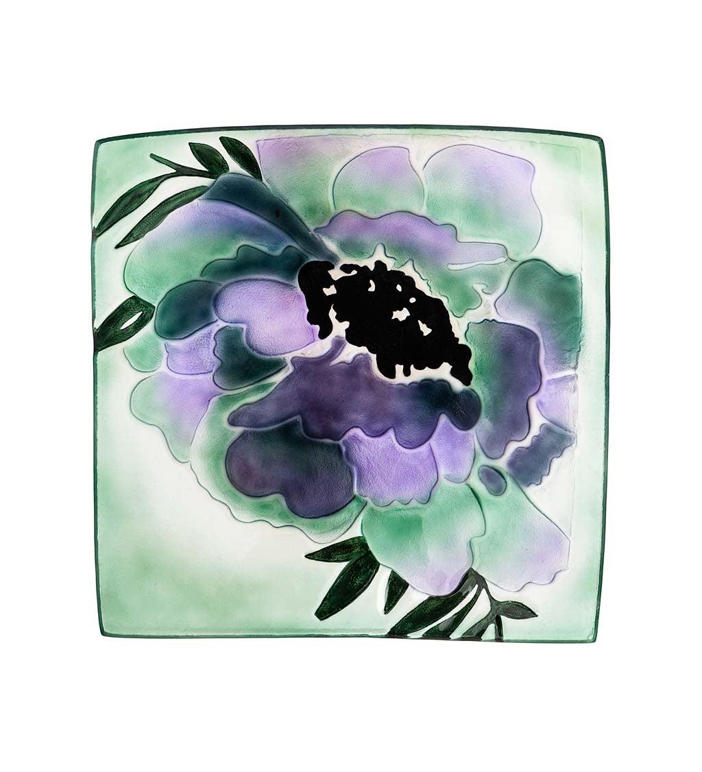 "16.5"" Hand Painted Embossed Square Glass Bird Bath, Purple Geranium"