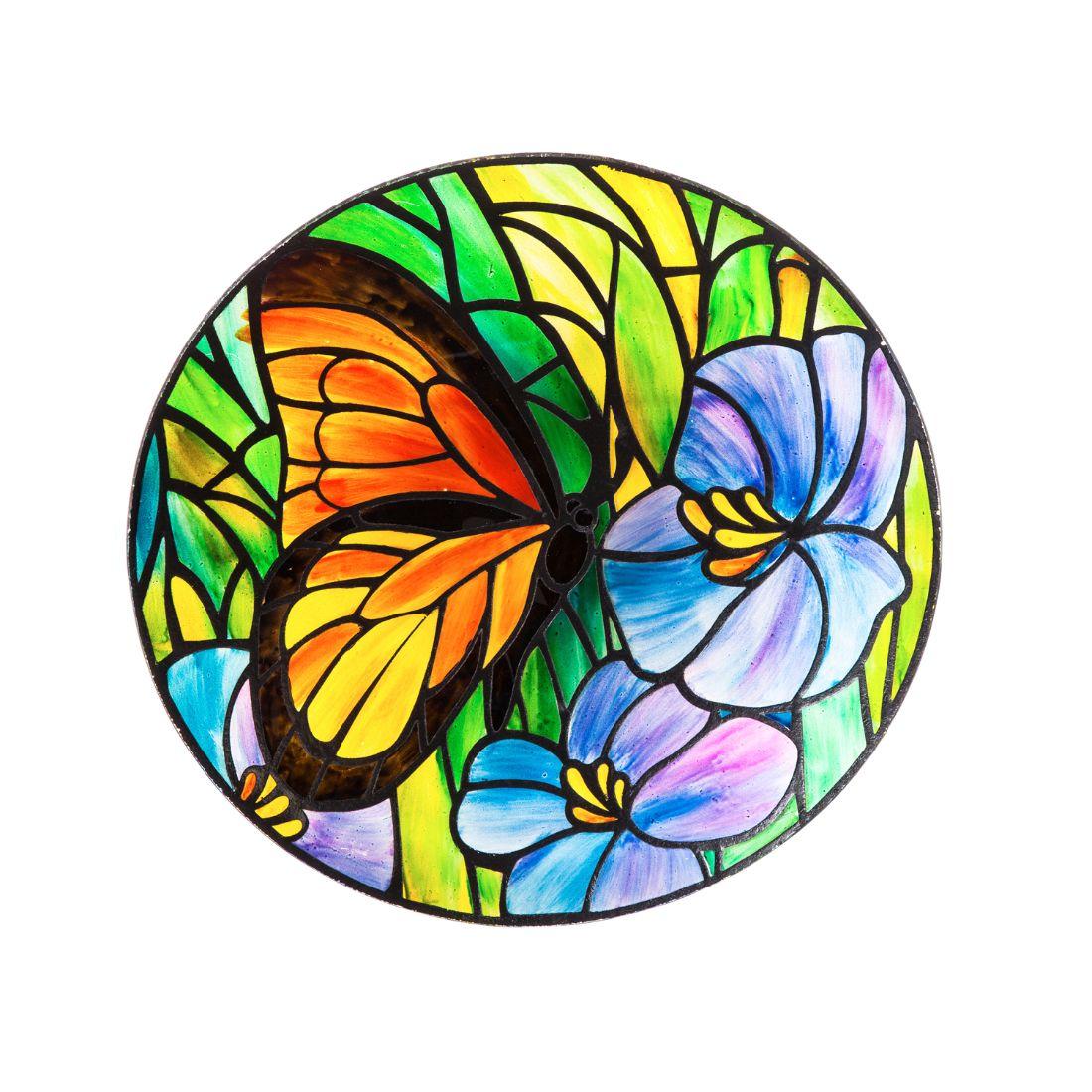 """18"""" Art Nouveau Bird Bath, Butterfly"""