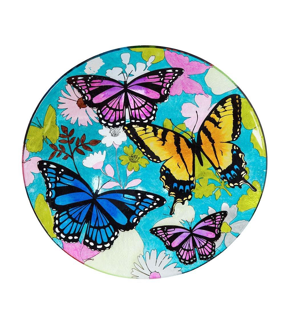 """16"""" Glass Birdbath w/ Stand, Bountiful Butterfly"""