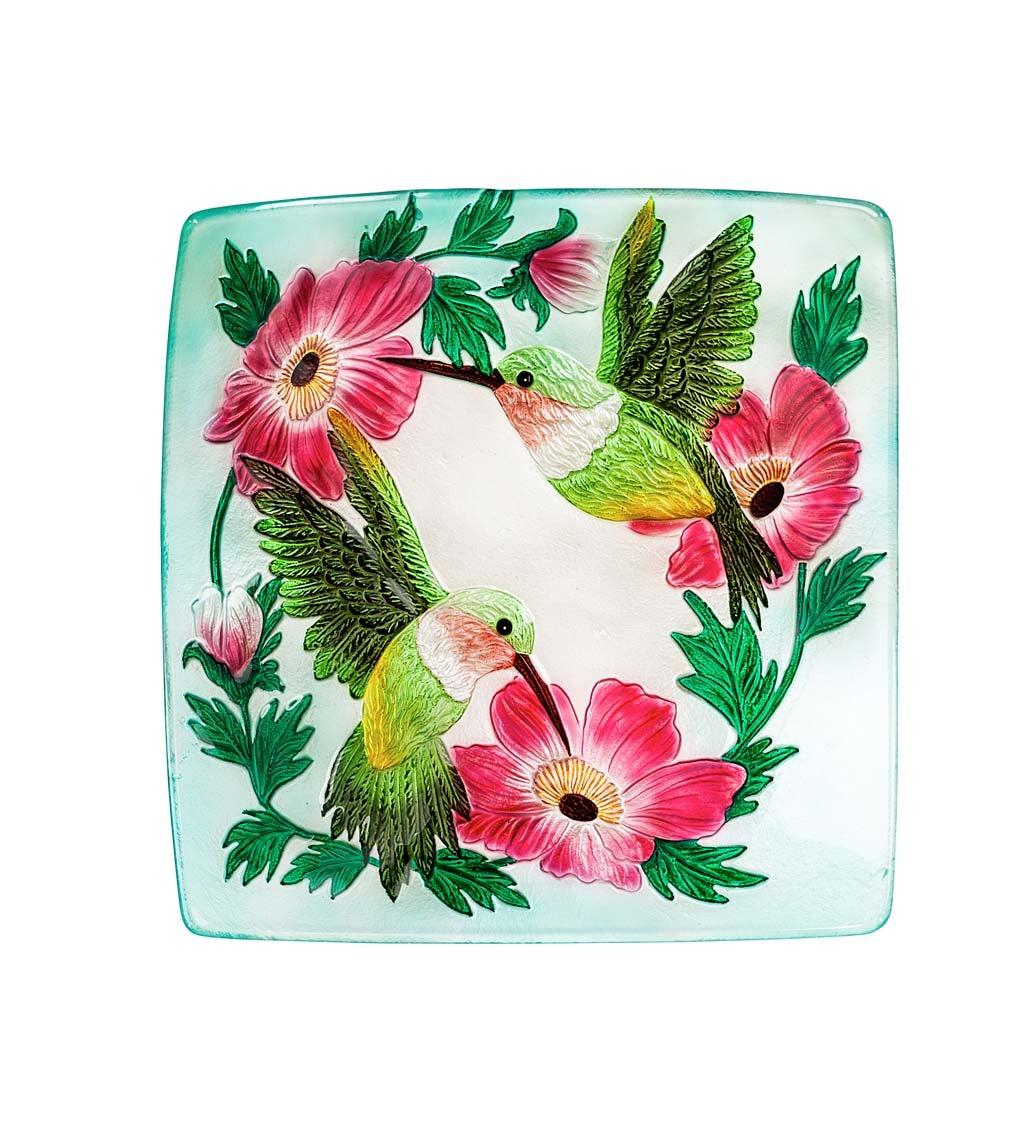 "16.5"" Hand Painted Embossed Square Glass Bird Bath, Hummingbird duo"