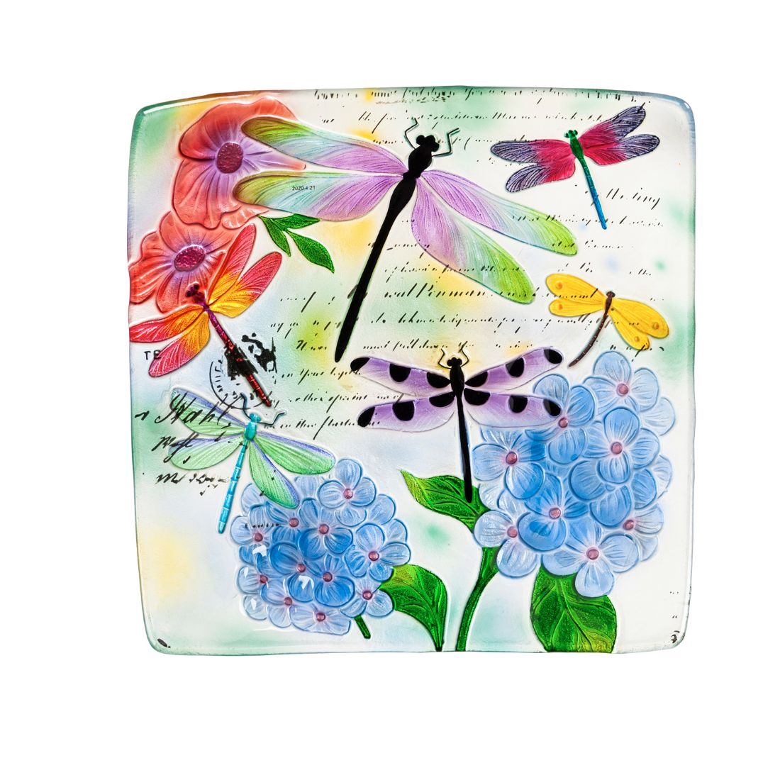 """16.5"""" Hand Painted Embossed Square Glass Bird Bath, Dragonfly Prints"""