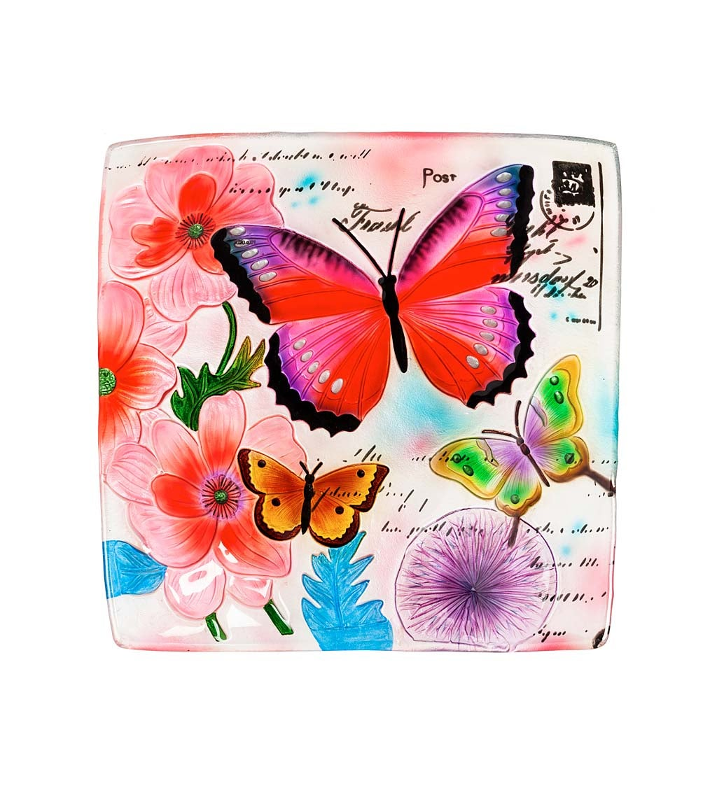 """16.5"""" Hand Painted Embossed Square Glass Bird Bath, Butterfly Prints"""