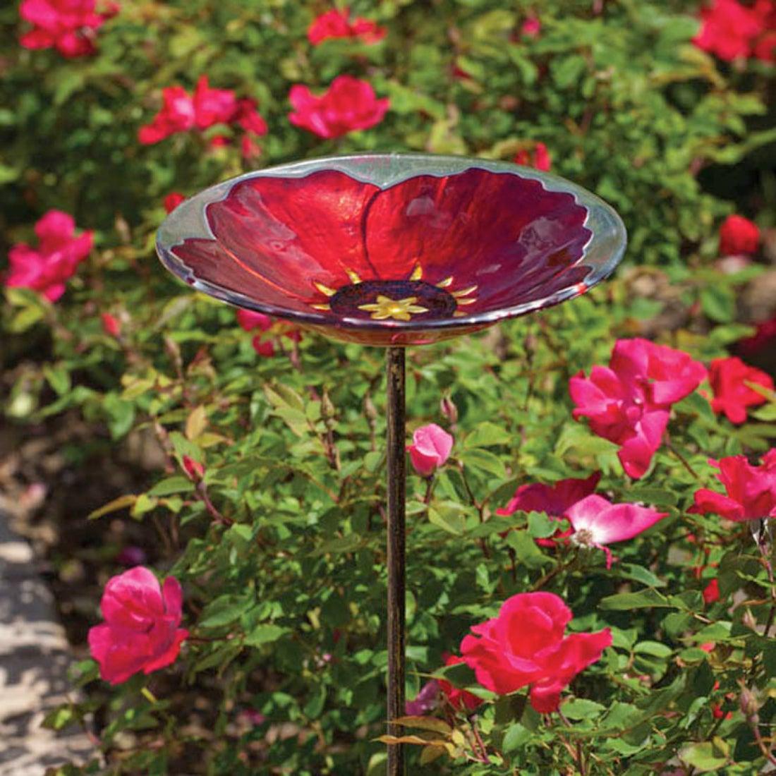 Ruby Pansy Glass Bird Bath with Metal Stake