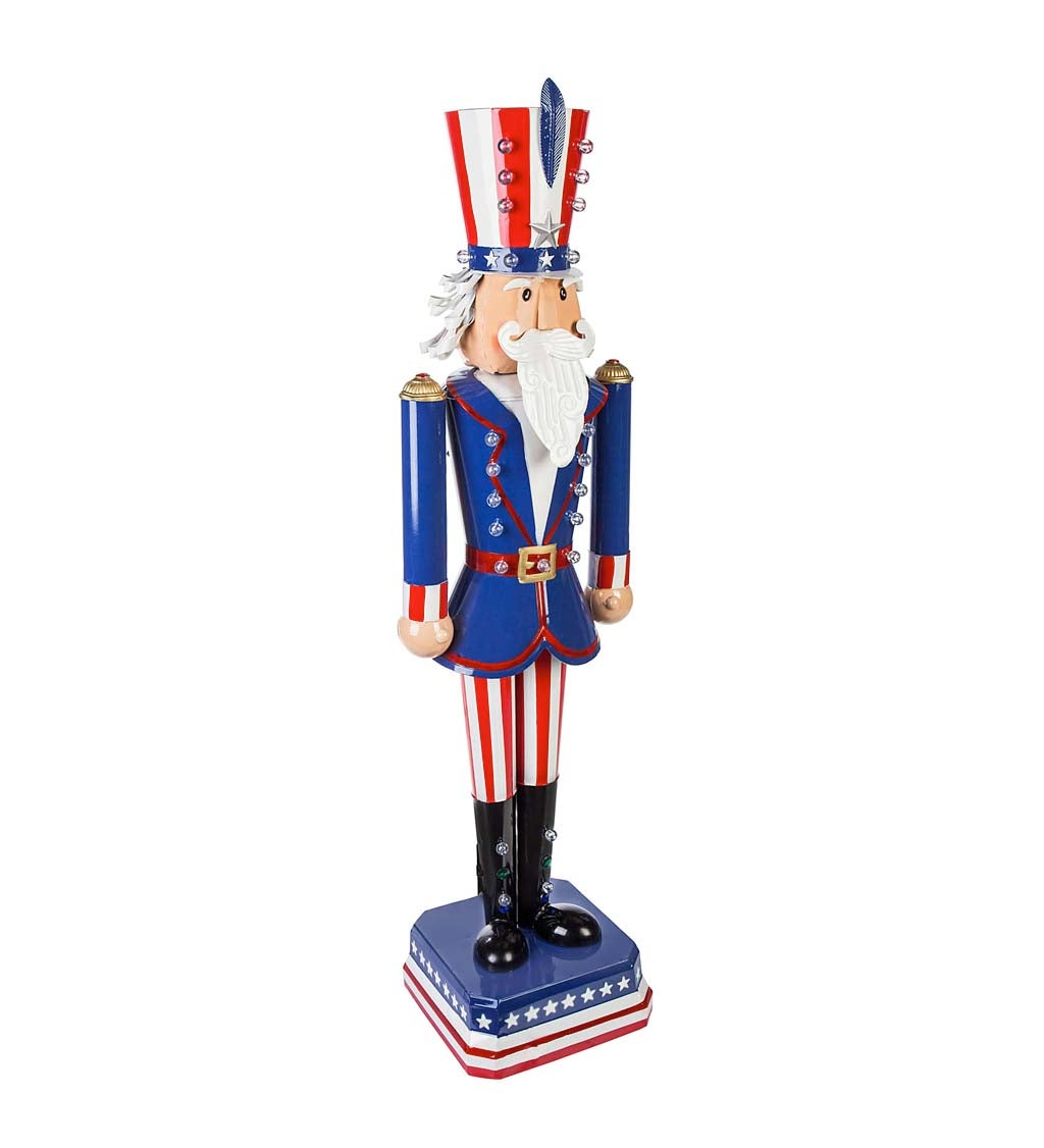 """50""""H Battery Operated Metal Uncle Sam Garden Statuary"""