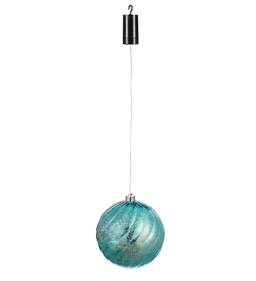 """8"""" Shatterproof Outdoor Safe Battery Operated LED Ornament, Baby Blue"""