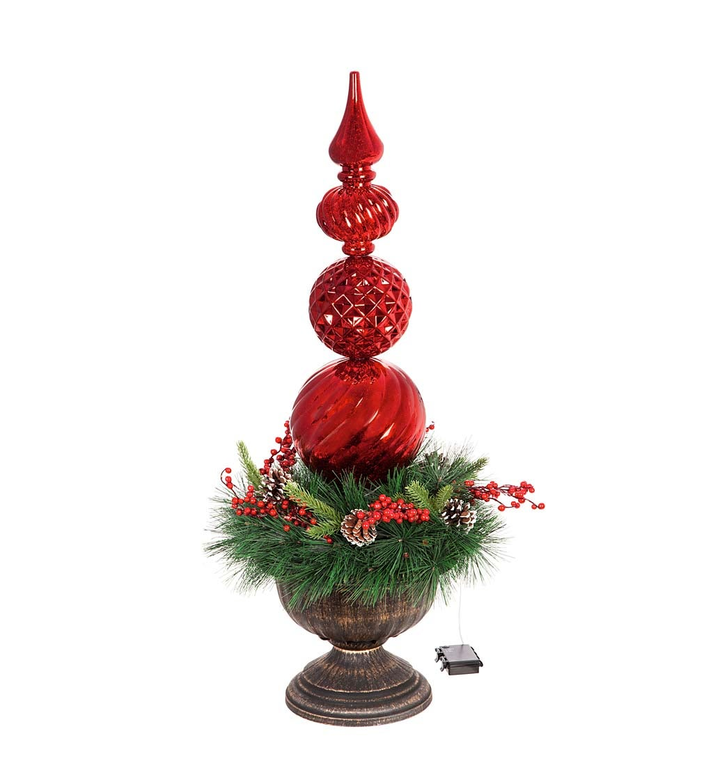 Red Finial Shatterproof Battery Operated Twinkling White LED Ornament with Wreath in Urn