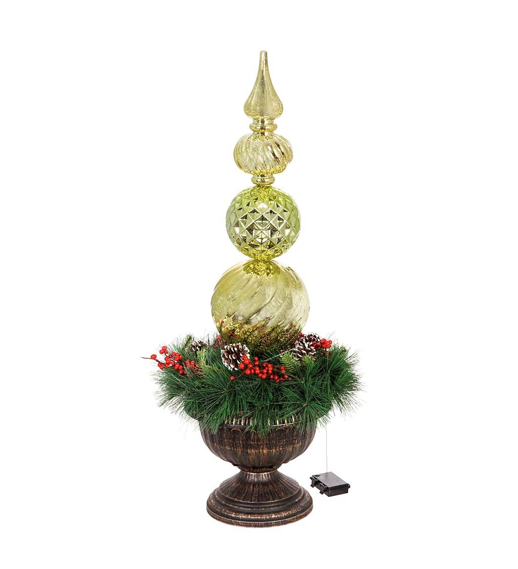 Gold Finial Shatterproof Battery Operated Twinkling White LED Ornament with Wreath in Urn