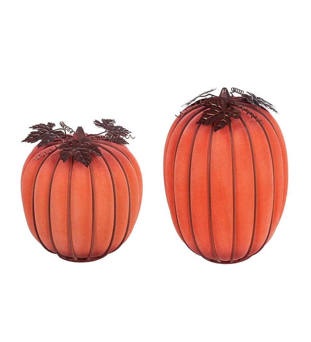Orange Mist Finish LED Battery Operated Glass Pumpkin, Set of 2