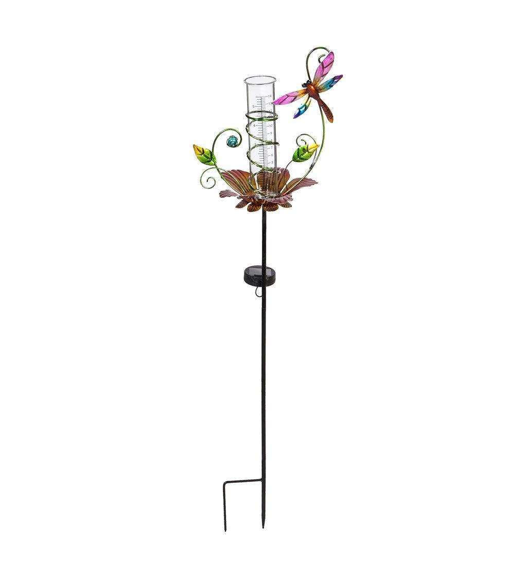 Solar Rain Gauge Garden Stake, Floral, Dragonfly