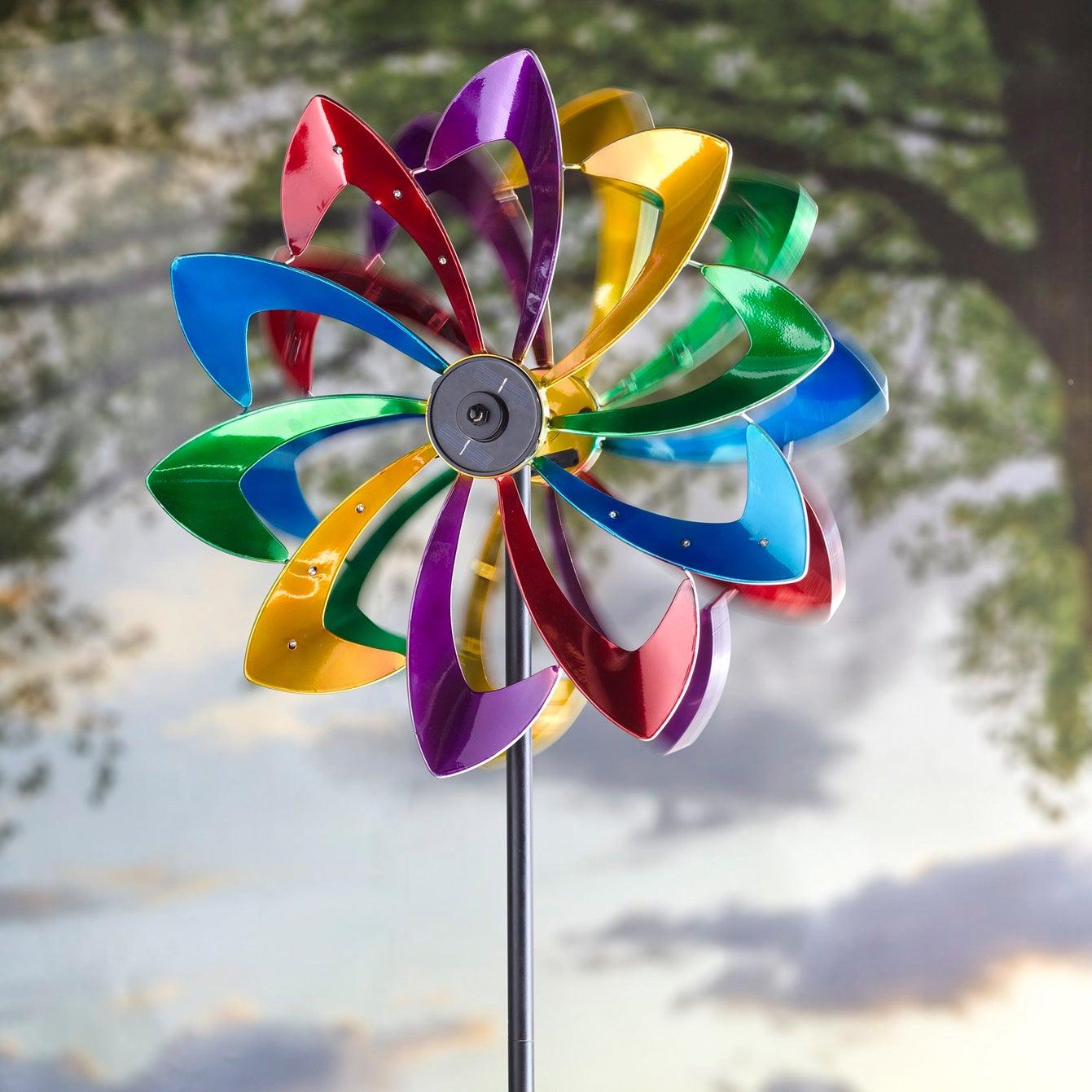 LED Flower Metal Kinetic Solar Wind Spinner