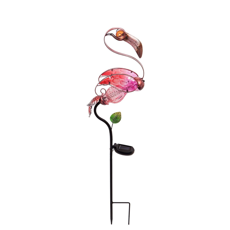 Flamingo Glass and Metal Solar Garden Stake