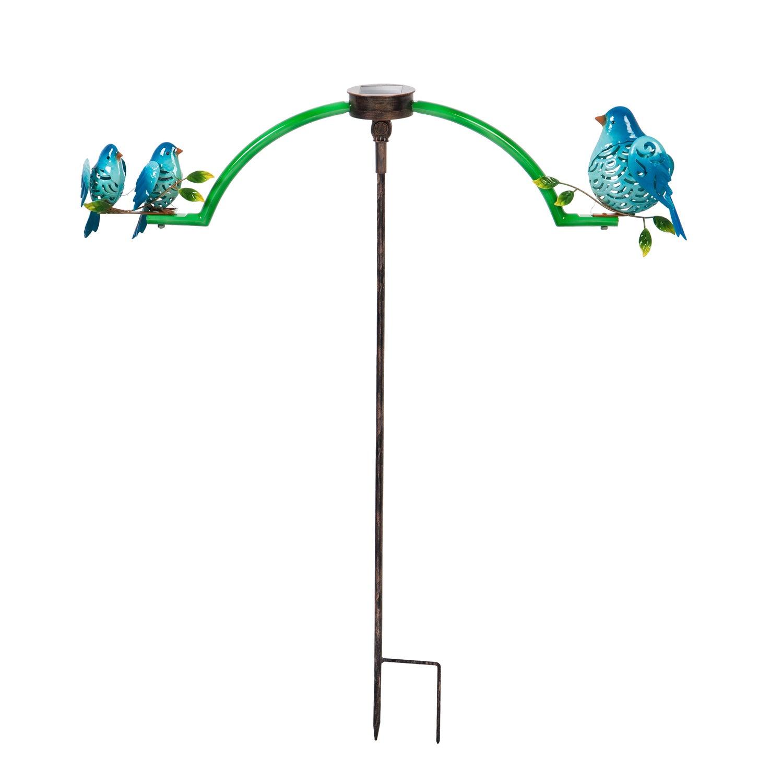 Chasing White Light Blue Bird Solar Balancer Garden Stake