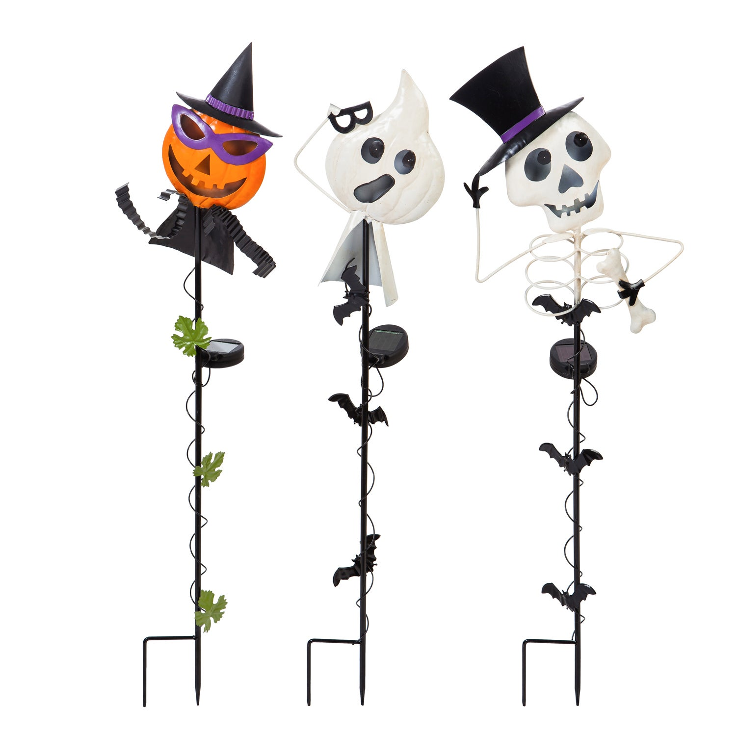 "Halloween Characters 34""H Metal and Acrylic Solar Garden Stakes, Set of 3"